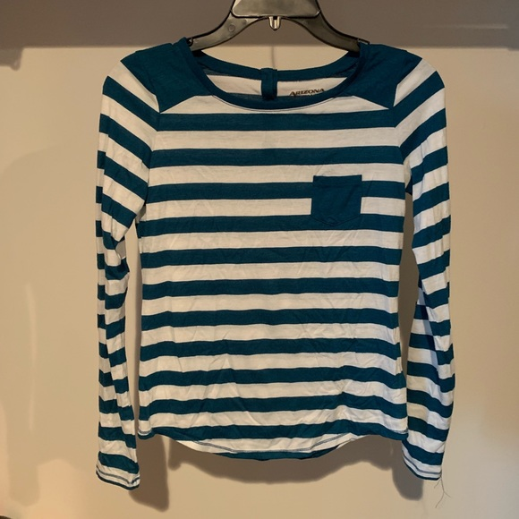 Arizona Jean Company Tops - Blue and white striped long sleeve